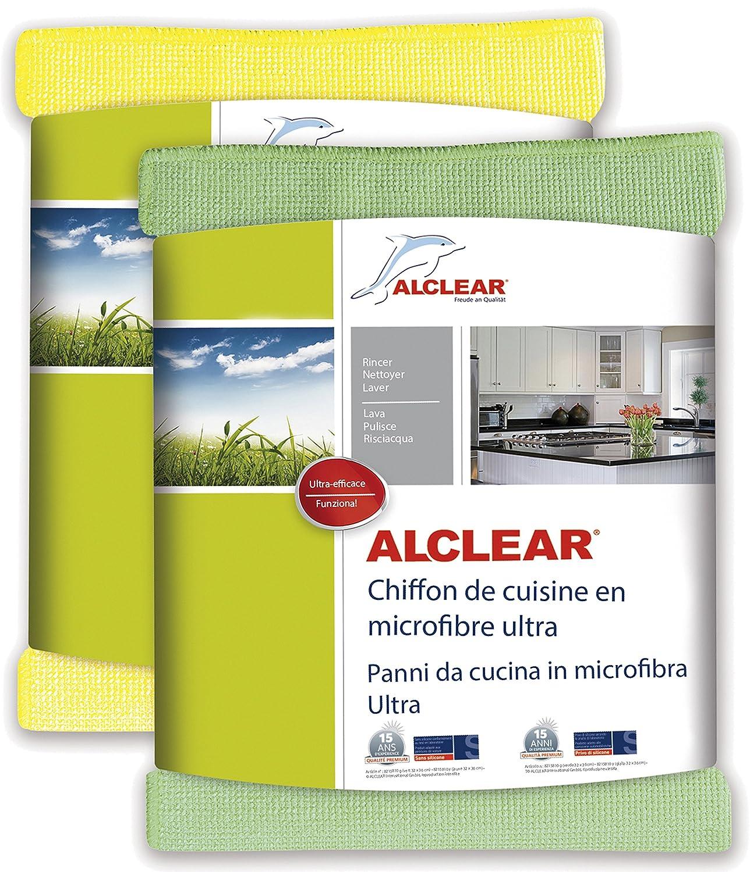 ALCLEAR 8215810yg Chiffon de Cuisine en Microfibre Ultra, Jaune/Vert, 32x36 cm, Set de 2 ALCLEAR International GmbH