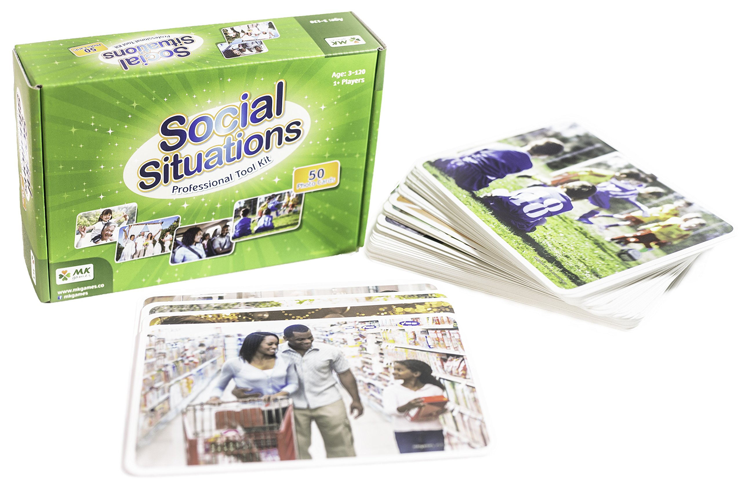 MKgames Social situations - 50 Photo Cards, Learning Products, Speech Therapy for Kids and Adults. Encourages Language Development, Communication and Conversation