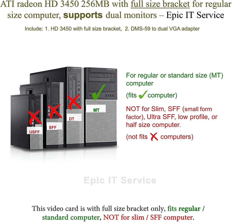 Full Size Bracket, DMS-59 to Dual DVI Adapter Epic IT Service ATI Radeon HD 3450 for Dual Monitor Setup
