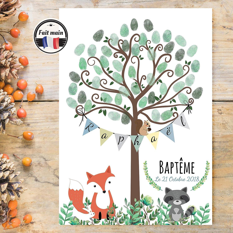 Arbre à empreintes pour Baptême et anniversaire pour enfant- Format A4 ou A3 - Thème Forêt et Renard