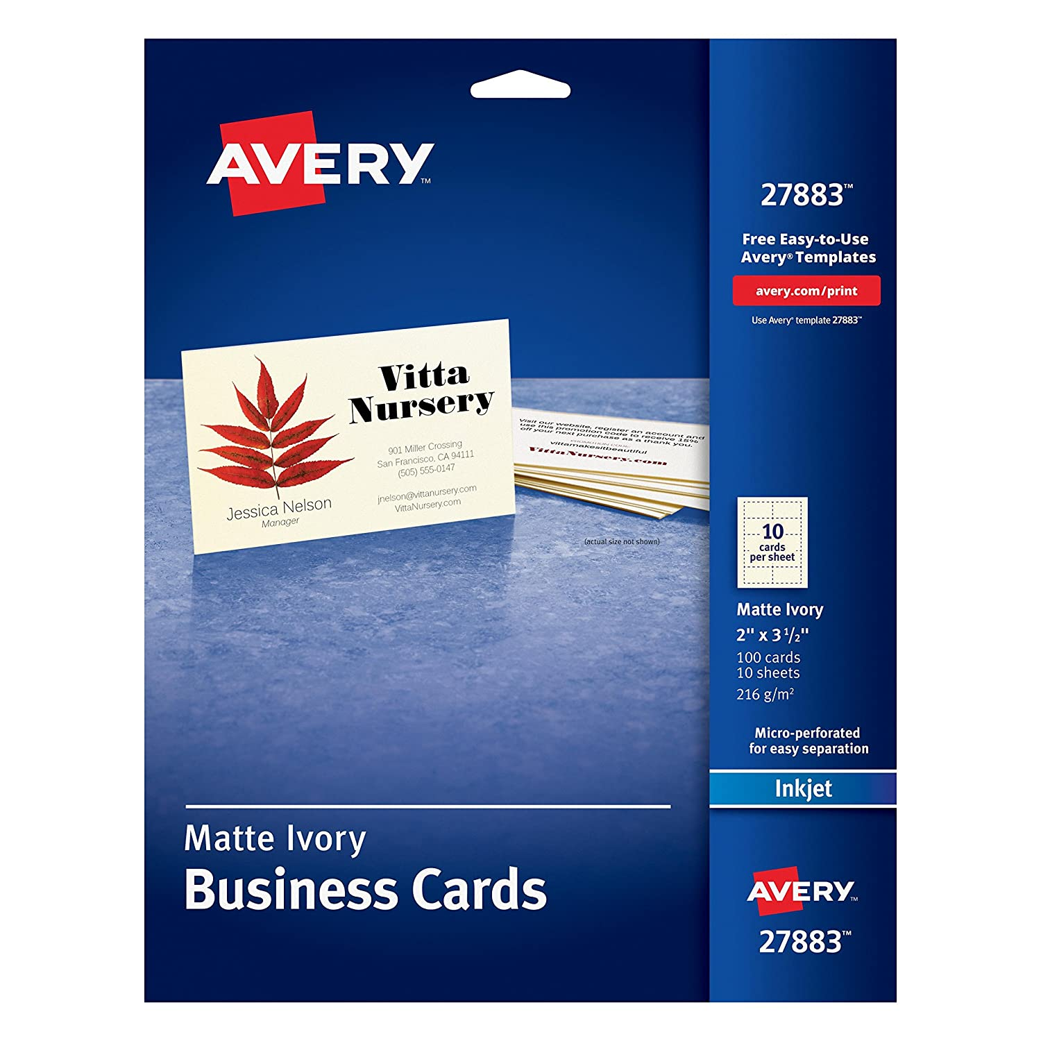 Amazon.com : Avery Ivory Matte Business Cards, 2 x 3.5 Inches, 100 ...