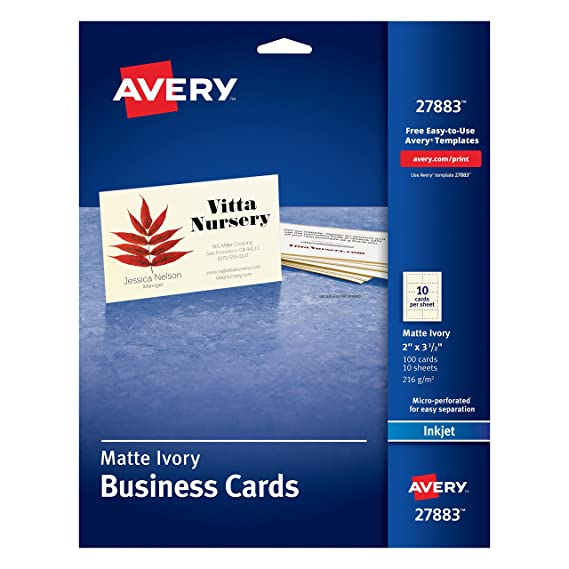 Amazon avery ivory matte business cards 2 x 35 inches 100 amazon avery ivory matte business cards 2 x 35 inches 100 cards 27883 business card stock office products fbccfo Choice Image
