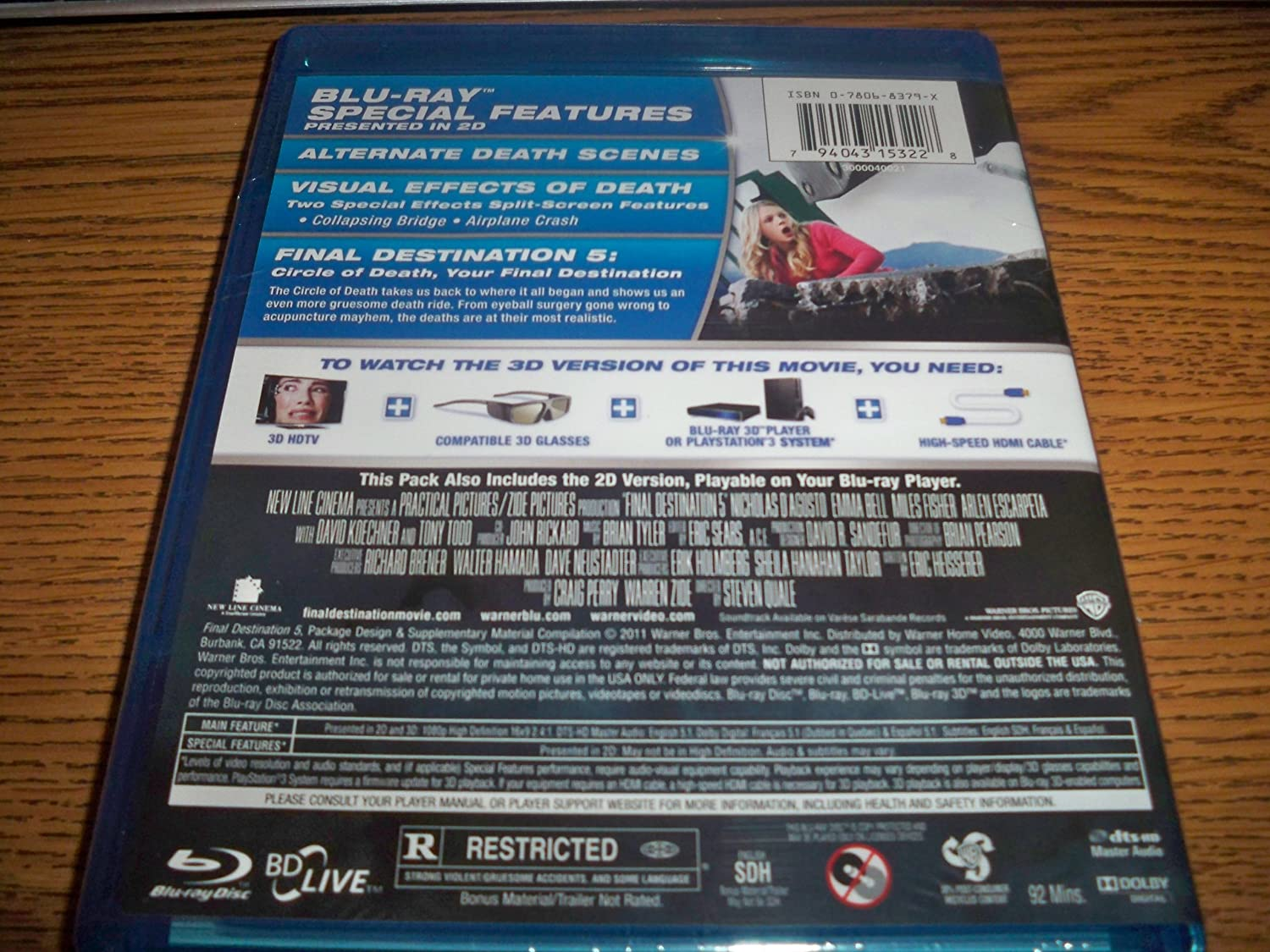 Amazon.com: Final Destination 5 3D (Blu-ray 3D + Blu-ray + ...