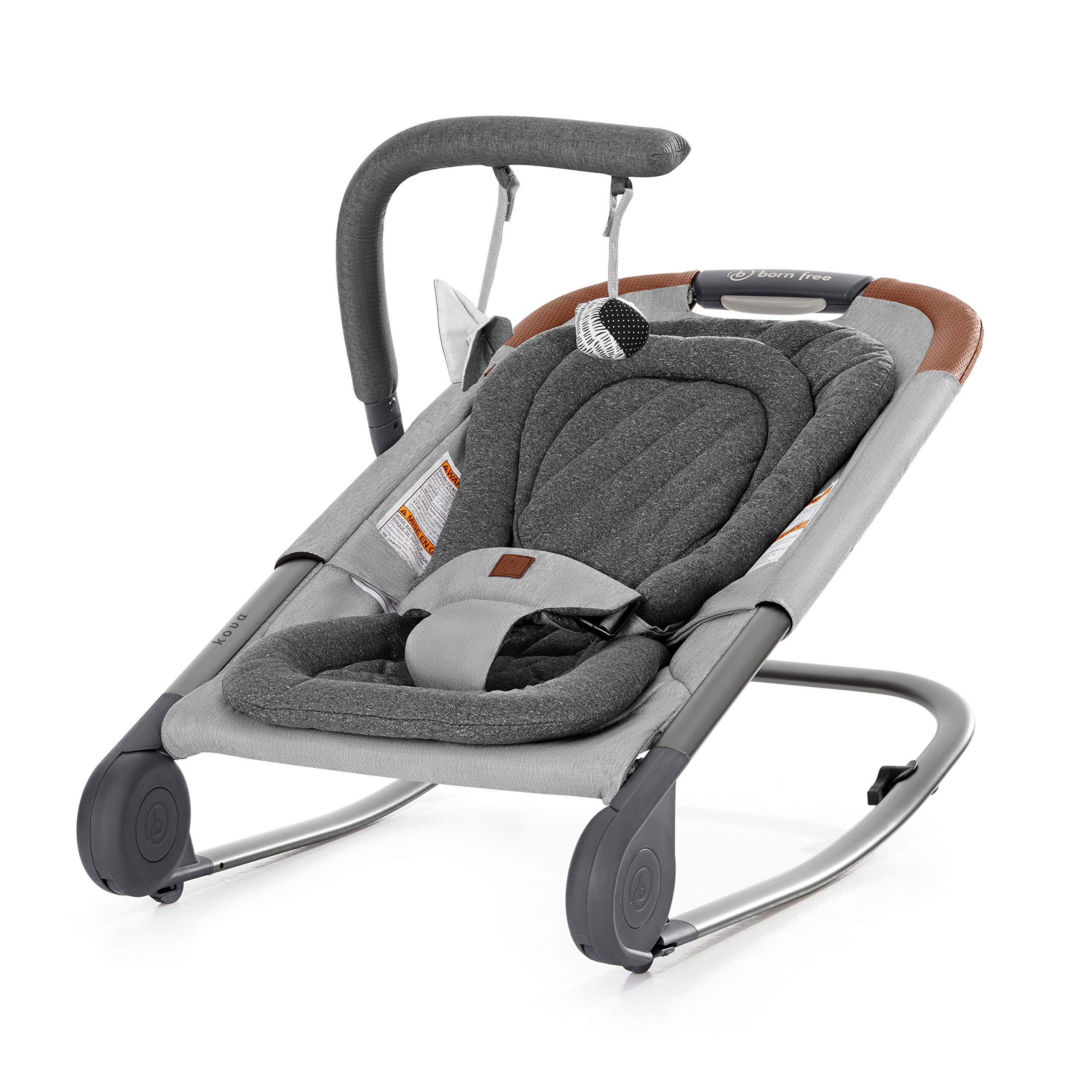 born free KOVA Baby Bouncer -  Baby Rocker with Two Modes of Use, Removable Toys and Compact Fold for Storage or Travel – Easy to Clean, Machine Washable Fabrics by Born Free (Image #2)