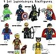 Kids Corner Productions - Super Heroes Figurine 9 Set Mini Figure Marvel, DC Comics - Borsa Da Partito con Batman, Spiderman, Ironman, Thor, DeadPool, Wolverine, Captian America, Hawkeye And The Hulk