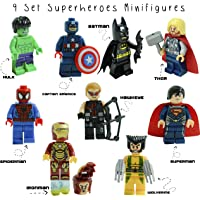 Kids Corner Productions- Super Heroes Lego Figures 9 Set Mini Figures Marvel and DC Comics - Party Bag with Batman