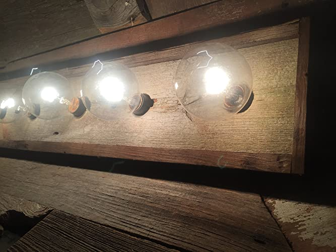 Amazon.com: 4 Bulb rustic barn wood bathroom vanity bar light: Handmade