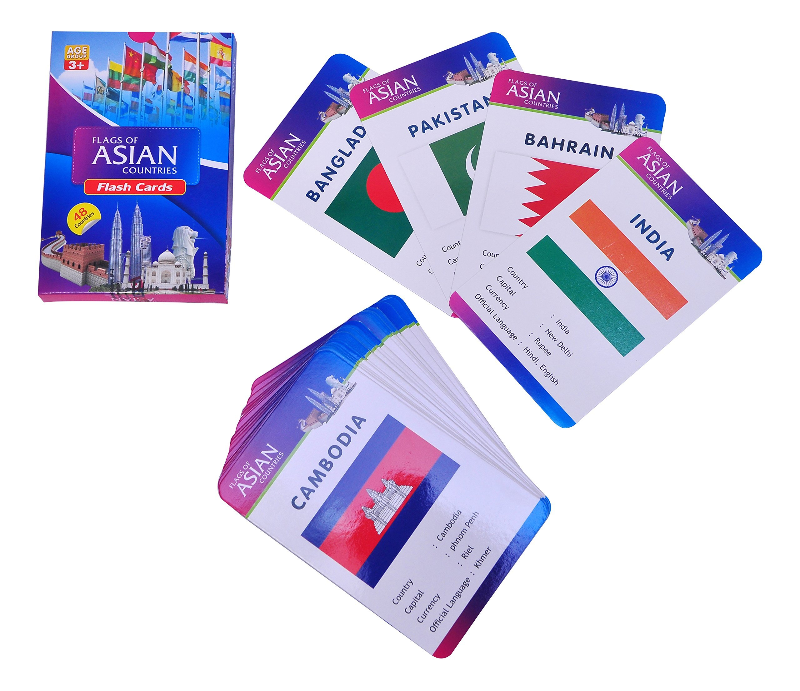 Baski Toys Flags of Asian Countries - Flash Cards (10 cm x 15 cm x 1.5 cm) product image