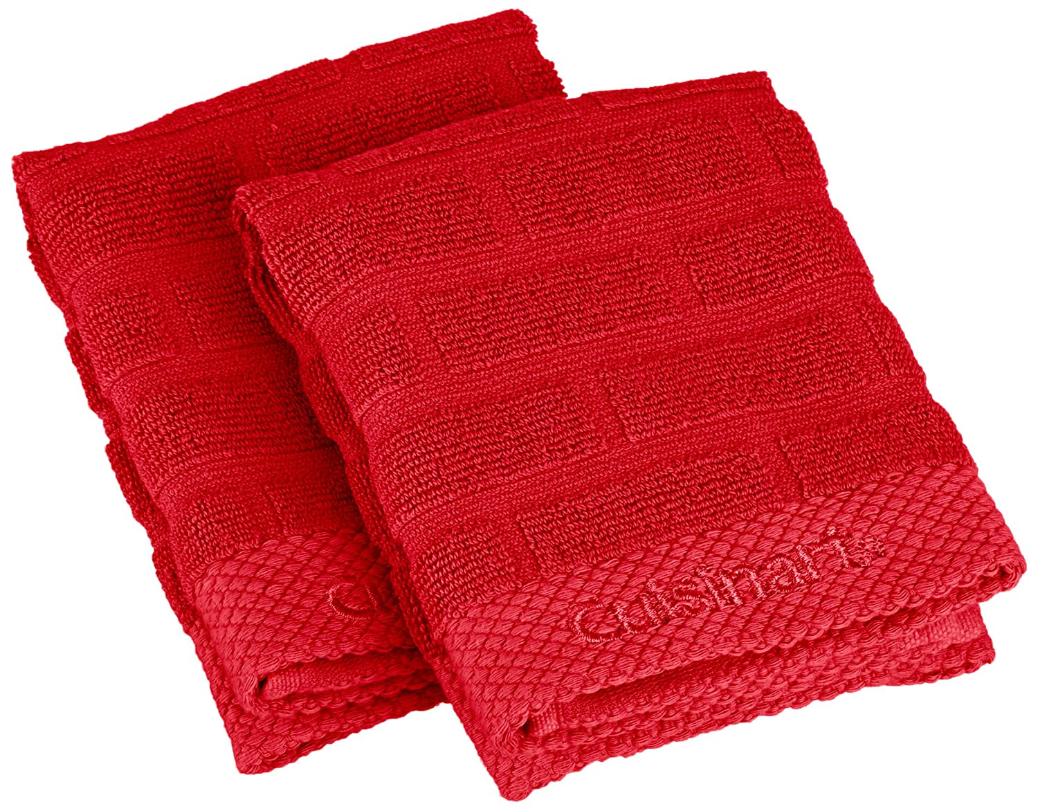Cuisinart Terry Dish Cloth with Embroidery, Red, 2-Pack 142-9786-8