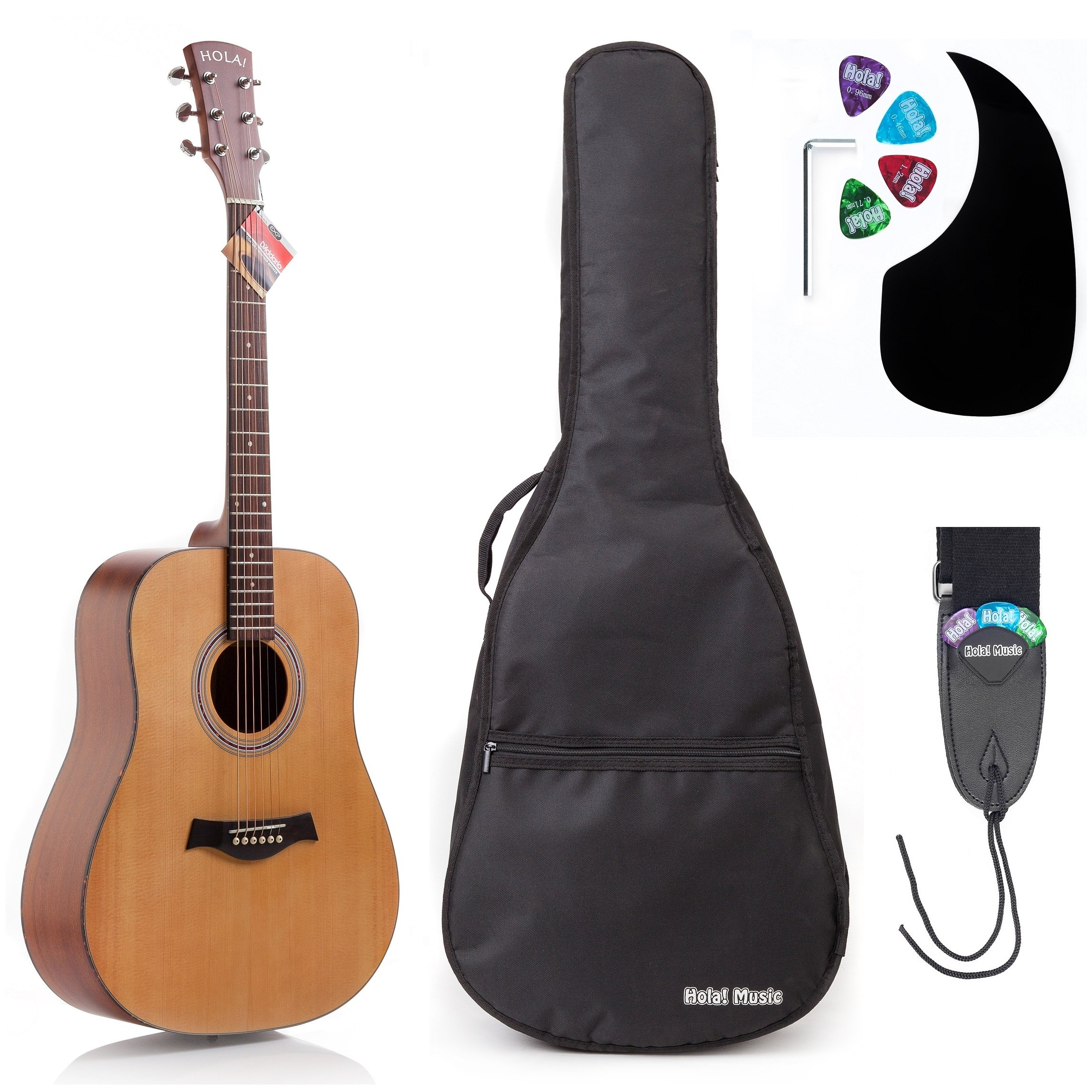 Acoustic Guitar Bundle Dreadnought Series by Hola! Music with D'Addario EXP16 Steel Strings, Padded Gig Bag, Guitar Strap and Picks, Full Size 41 Inch (Model HG-41N), Natural Satin Finish by Hola! Music