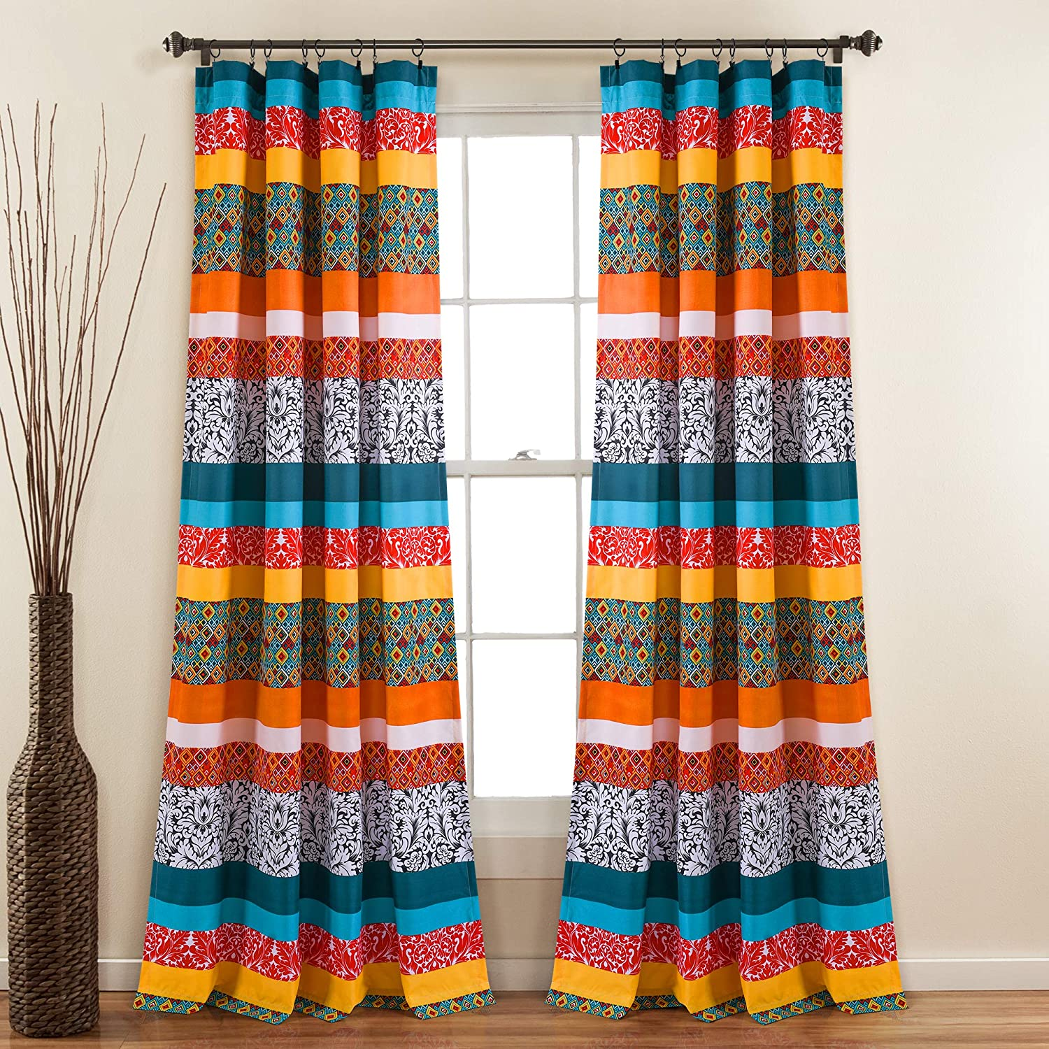 Lush Decor Turquoise and Tangerine Boho Stripe Window Curtain Bohemian Design Panel Pair, 52