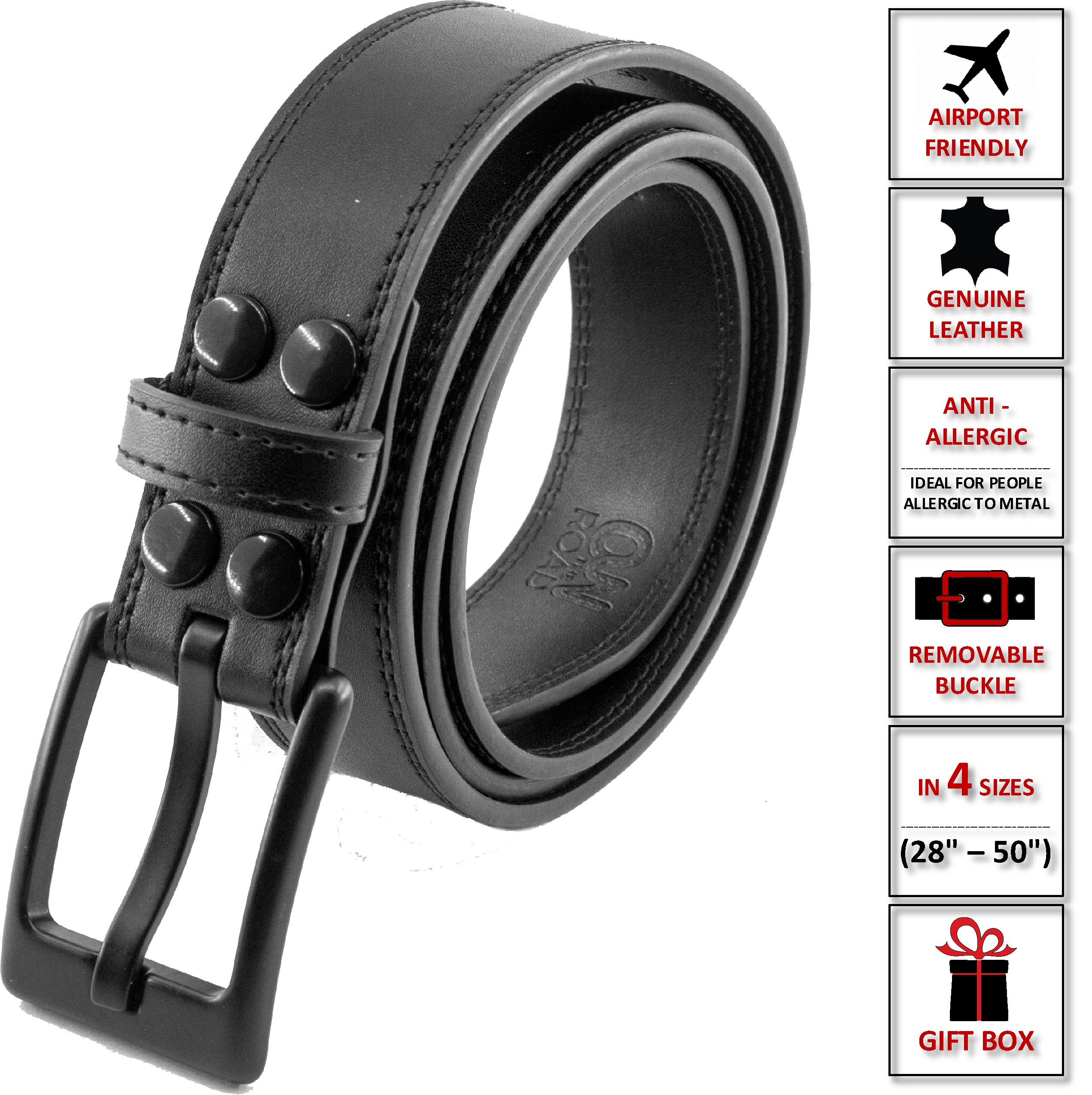 On The Road Men's Leather Belt Metal Free Plastic Buckle in an Elegant Gift Box (S (waistline 28'' - 34''))