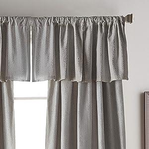 DKNY Urban Melody Faux Suede Room Darkening Inverted Pleat Window Valance, 46W x 18L, Grey