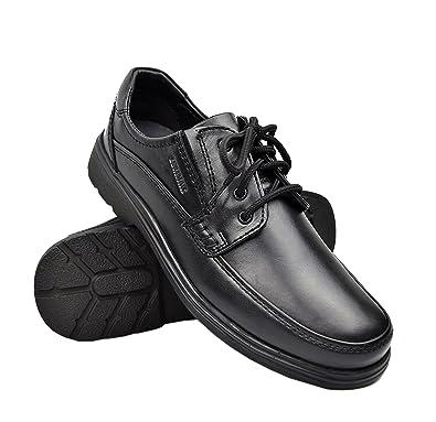 Zerimar Herren Lederschuhe Legere Herrenschuhe Herrenschuhe zu tragen  lessiger und bequem Herren lederschuh Arbeitsschuhe Farbe schwarz