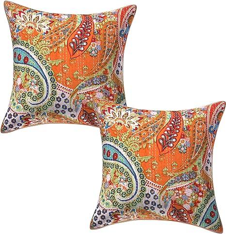 SALE Kantha Large Cushion Cover Multi Colour Indian Cotton Patchwork 50 x 50 cm