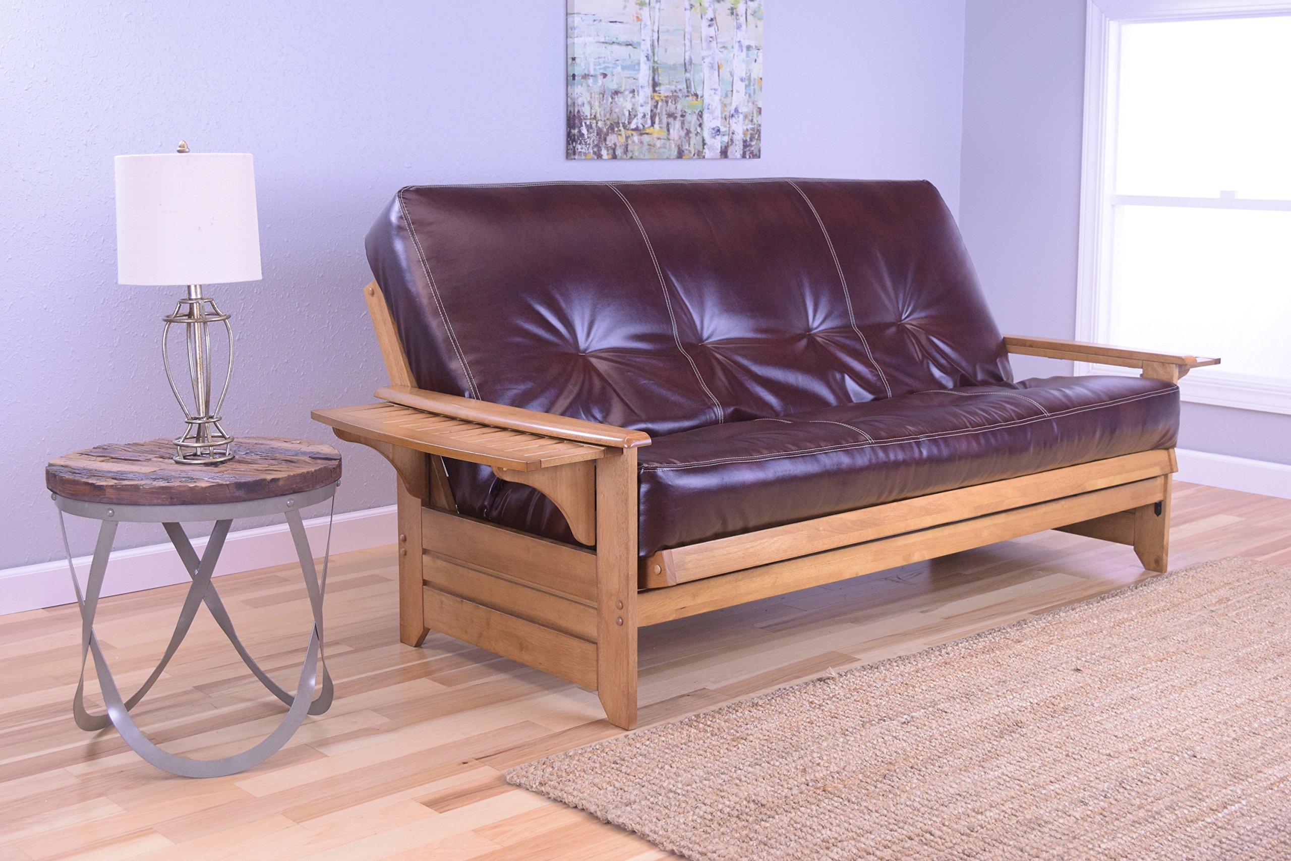 Rosemount Full Size Futon, Honey Oak Wood with Bonded Leather Innerspring Mattress, Java by Michael Anthony Furniture