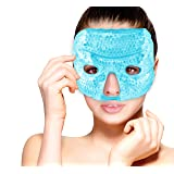 Hot and Cold Therapy Gel Bead Facial Eye Mask by FOMI Care   Ice Mask for Migraine Headache, Stress Relief   Reduces Eyes Puffiness, Dark Circles   Fabric Back   Freezable, Microwavable (Blue) (Color: Blue)