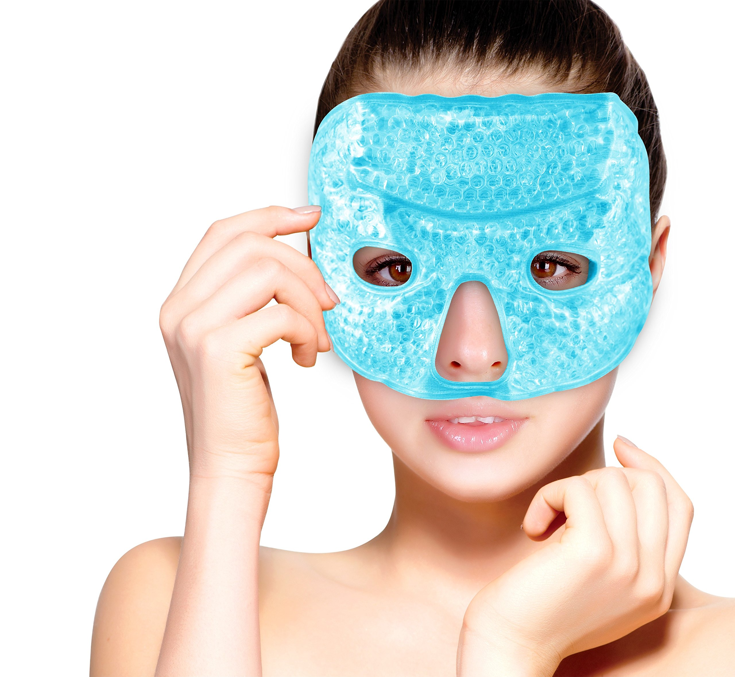 Hot and Cold Therapy Gel Bead Facial Eye Mask by FOMI Care   Ice Mask for Migraine Headache, Stress Relief   Reduces Eyes Puffiness, Dark Circles   Fabric Back   Freezable, Microwavable (Blue)