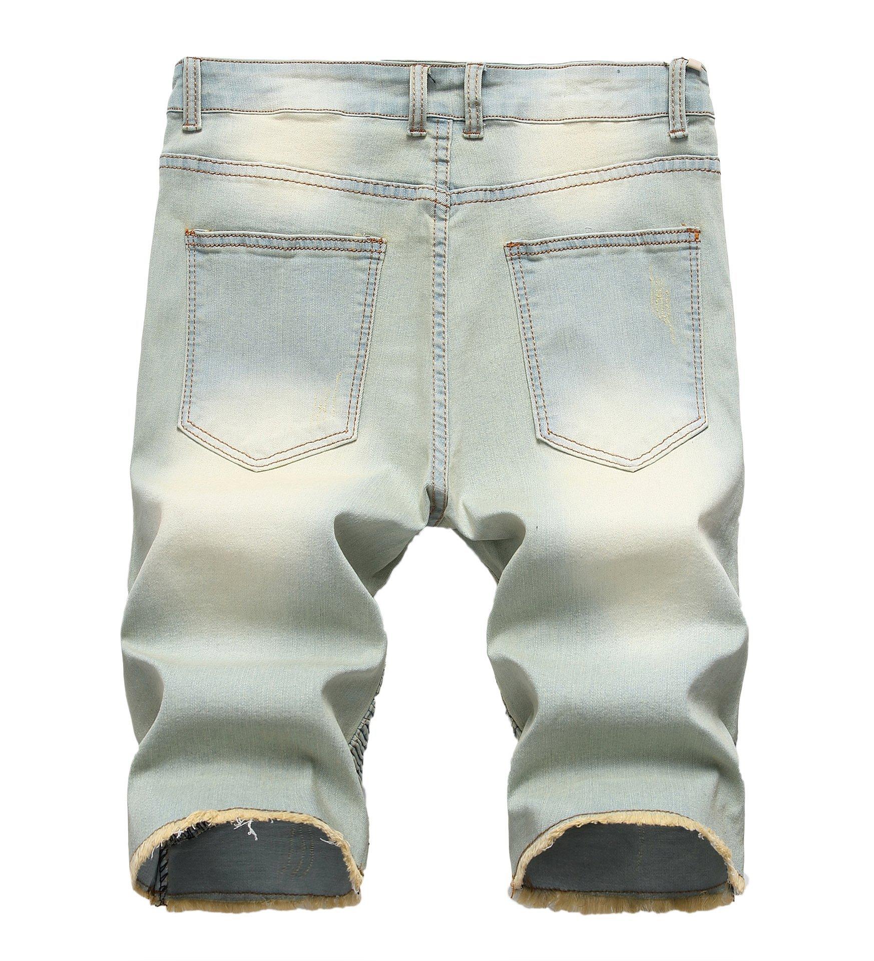 CLANNAD Men's Moto Biker Shorts Jeans Zipper Denim Casual Slim Shorts with Hole Vintage Blue 30 by CLANNAD (Image #2)