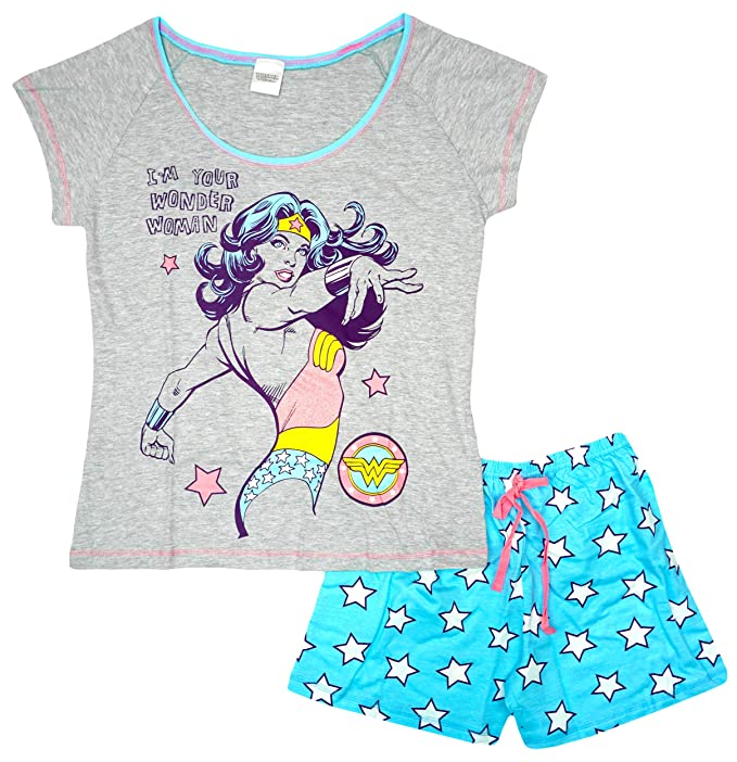 DC Comics Mujer Wonder Woman Super Héroe Estrellas Shorty Pijamas Tallas Grandes de 8 a 22