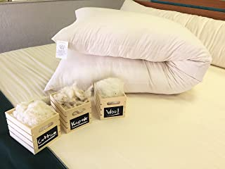 product image for White Lotus Home WSPZ10 Wool Sleep Pillow with Organic Sateen Outer Case with Zipper, 20x72-Body, Natural