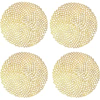 EiYYA 15inch Set of 4 PVC Pressed Vinyl Metallic Placemats Non-Slip Heat-Proof Table Covers Charger Plate (Gold)