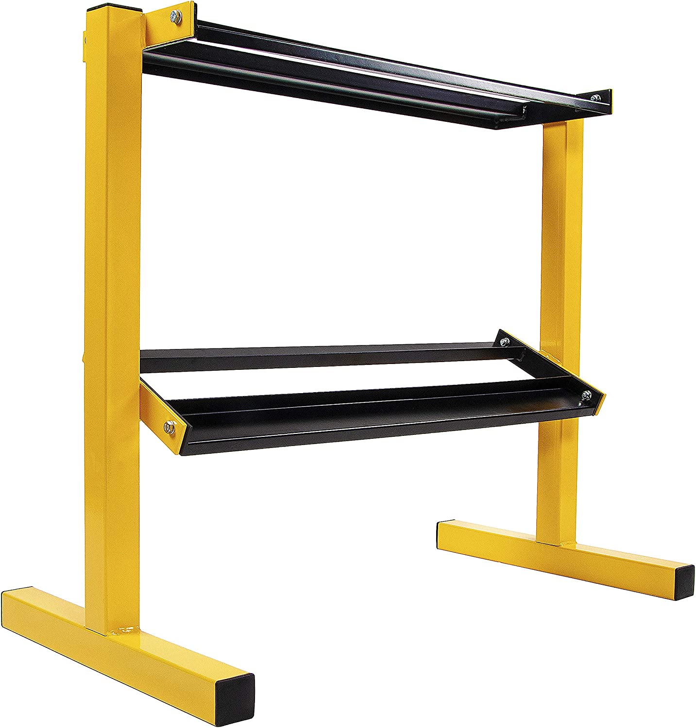 BalanceFrom 2-Tier Easy-Grab Dumbbell Rack Multilevel Weight Storage Organizer for Home Gym, 600-Pound Capacity, Yellow/Black