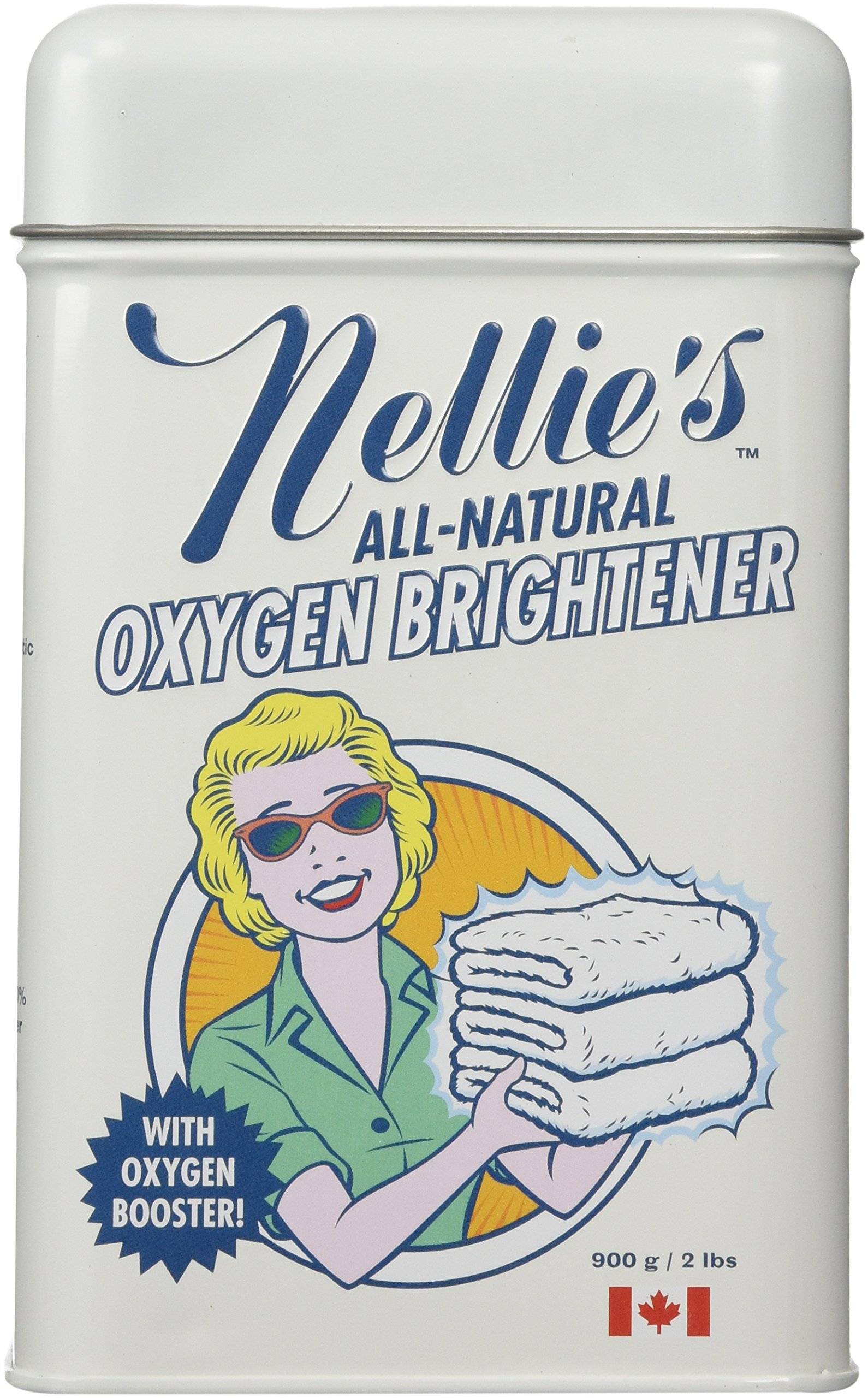 Nellie's All-Natural Oxygen Brightener Powder Tin, 2 Pound - Removes Tough Stains, Dirt and Grime