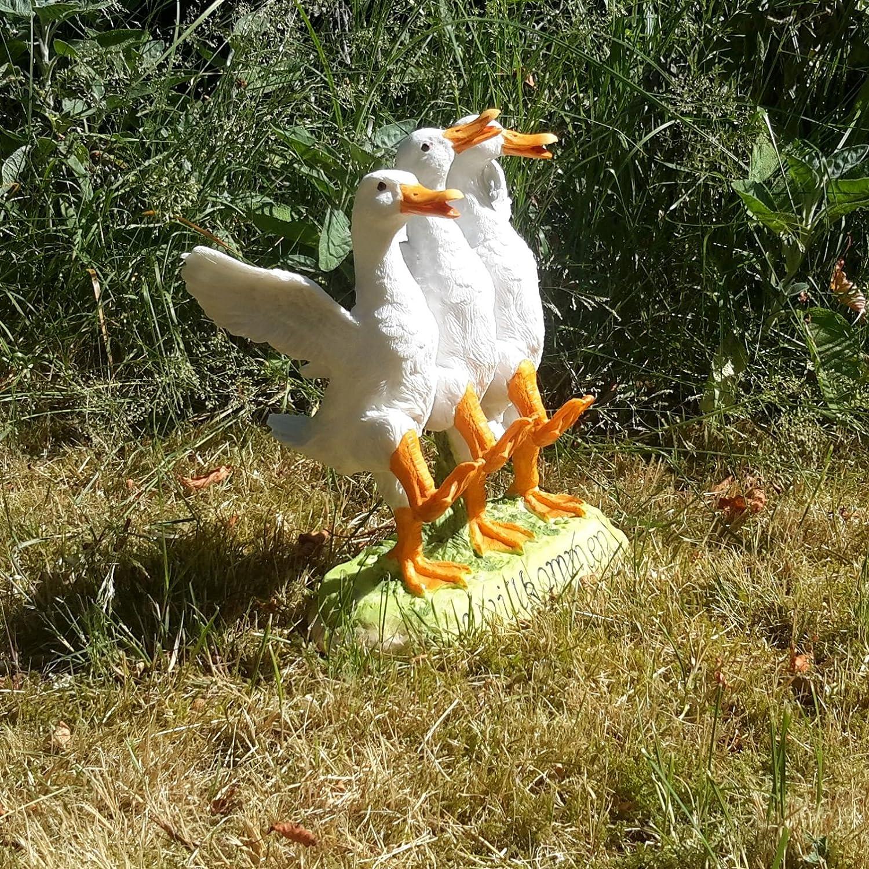 Tanzende G/änse Willkommen Schild Gartenfigur Wetterfest