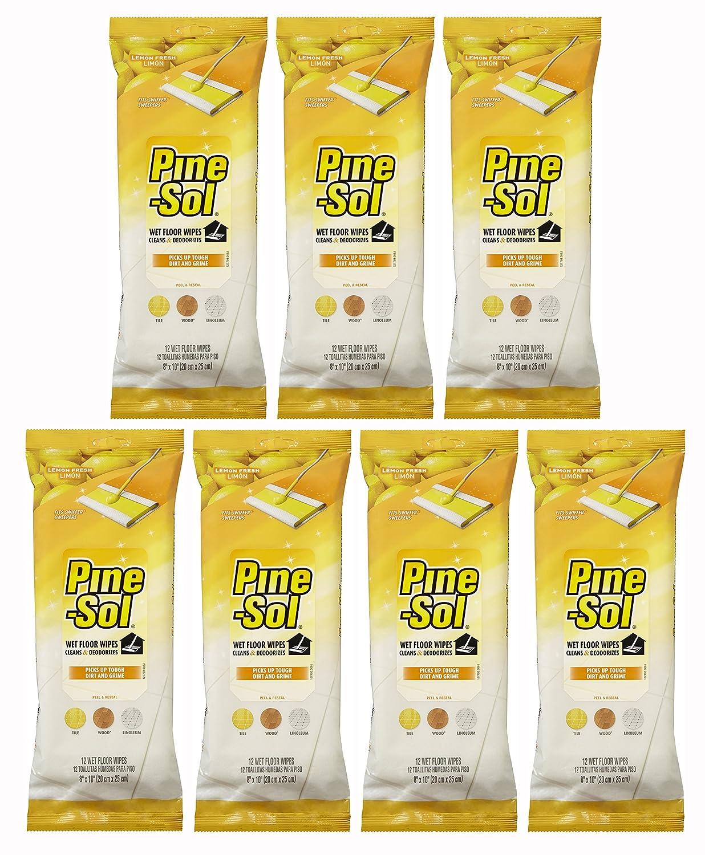 Amazon.com: Pine-Sol Wet Floor Wipes, Lemon Fresh, 12 Count (Pack of 7): Health & Personal Care