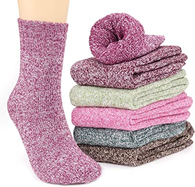 6 Pairs Women's Winter Warm Thick Socks, Vimpro Soft Knit Fuzzy Casual Socks  for Women Ladies' Gift at Amazon Women's Clothing store