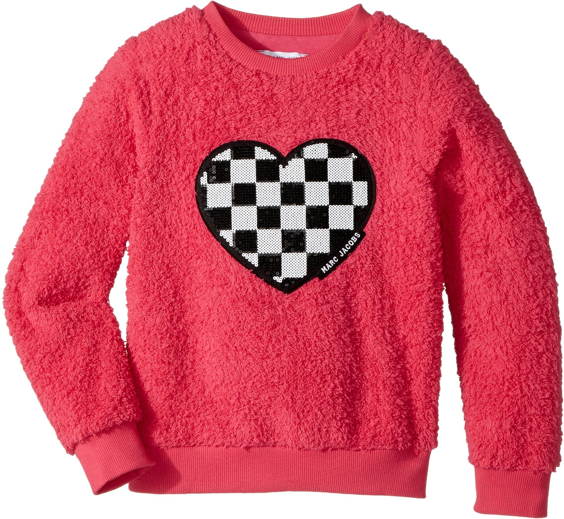 Little Marc Jacobs Girl's Soft Faux Fur Heart Illustration Long Sleeve Sweatshirt (Little Kids/Big Kids) Rose Ecar 8