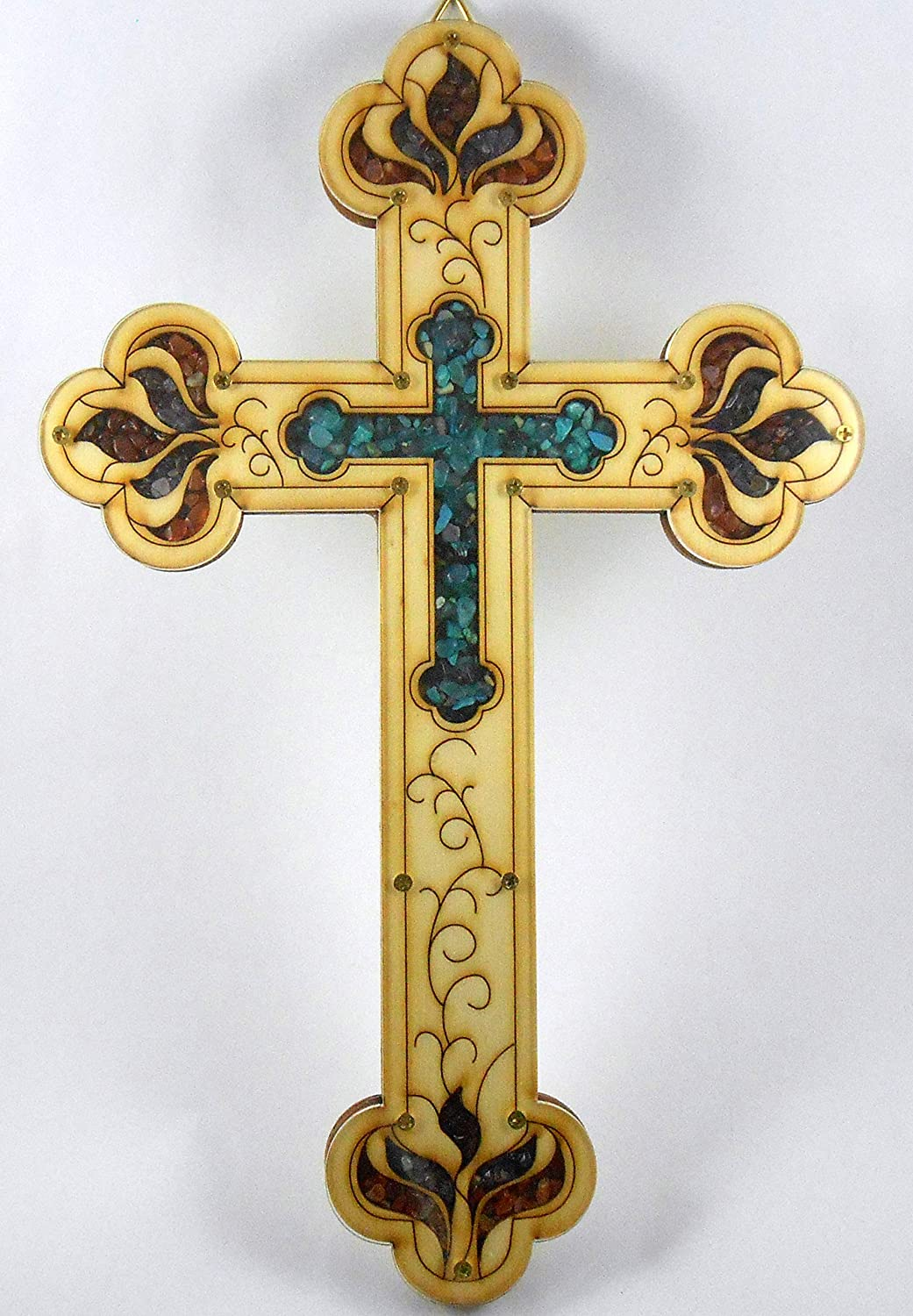 Classic Large Wood Turquoise Cross Wall Decor Hanging Housewarming Orthodox Christian Religious Charm Stone Icon Gift made in the Holy land