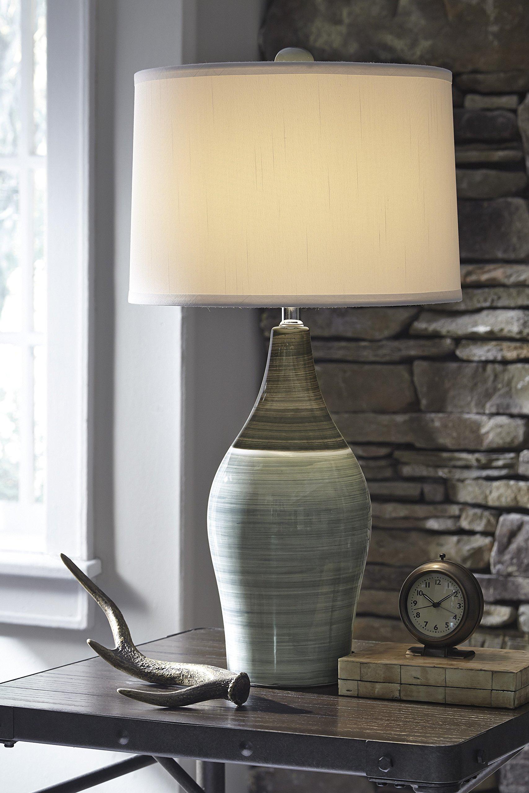 Ashley Furniture Signature Design -  Niobe Ceramic Table Lamp - Set of 2 - Multicolored/Gray by Signature Design by Ashley (Image #3)