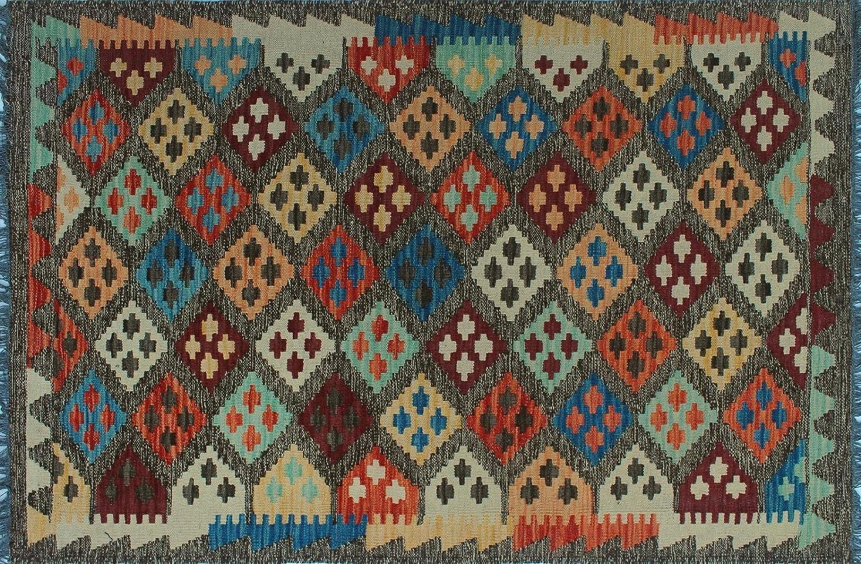 Noori Rug Sangat Kilim Daniel Chocolate/Blue Rug (3'4 x 5'3) Brown