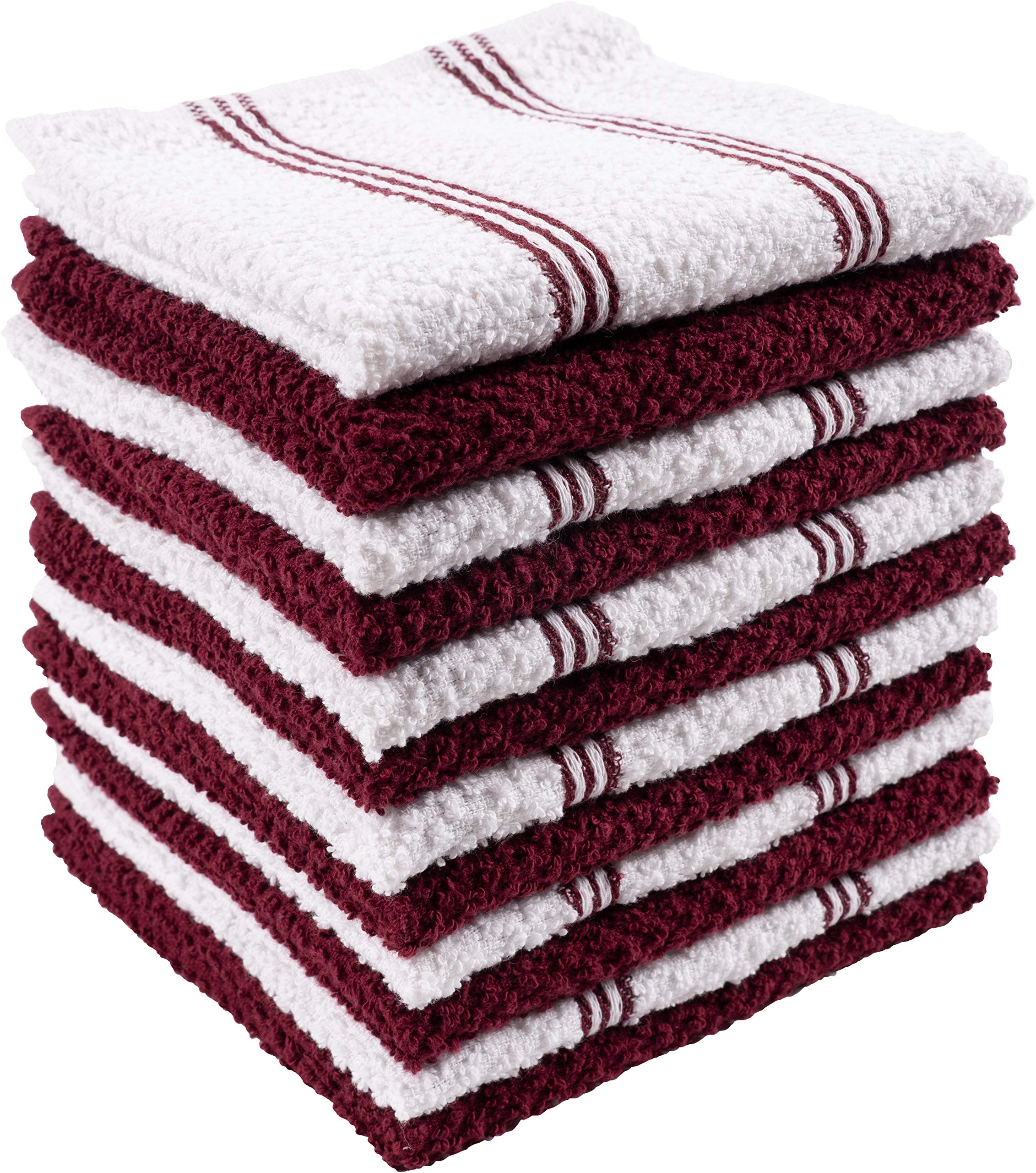 KAF Home Pantry Piedmont Dish Cloths (Set of 12, 12x12 inches), 100% Cotton, Ultra Absorbent Terry Towels - Wine Red