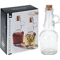 Hibuy, 2 classiche bottiglie di vetro italiane, per olio e aceto