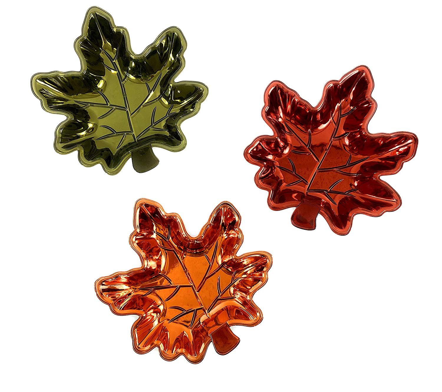Thanksgiving Fall Leaves Metallic Serving Platter/Candy Dish (Set of 3) Regent Products