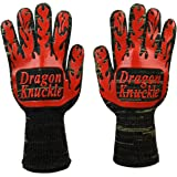 Heat Resistant BBQ Gloves by Dragon Knuckle Oven Mitts EN 407 932ºF - Grilling Barbecue Charcoal Grill Tools Kevlar Nomex Cut Resistant - Great Gift