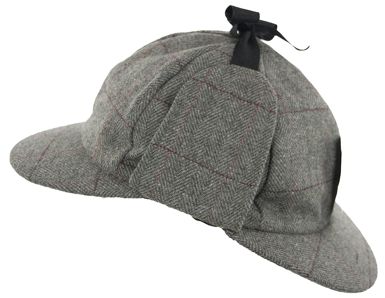 Grey Country Wool Tweed Deerstalker Hat Sherlock Holmes Hunting Cap with Ear  Flaps (61cm cd8627e2c7a2