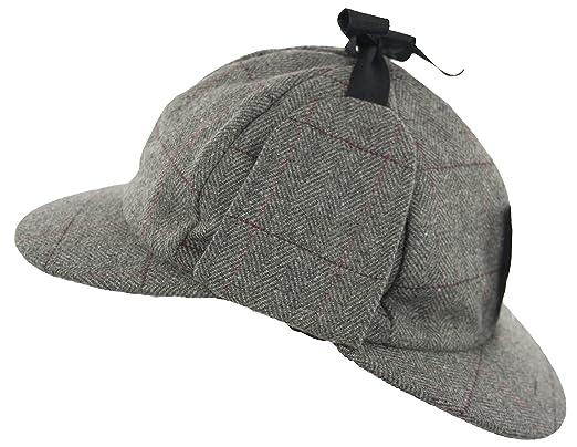 e892e50ee68 Grey Country Wool Tweed Deerstalker Hat Sherlock Holmes Hunting Cap with  Ear Flaps (61cm