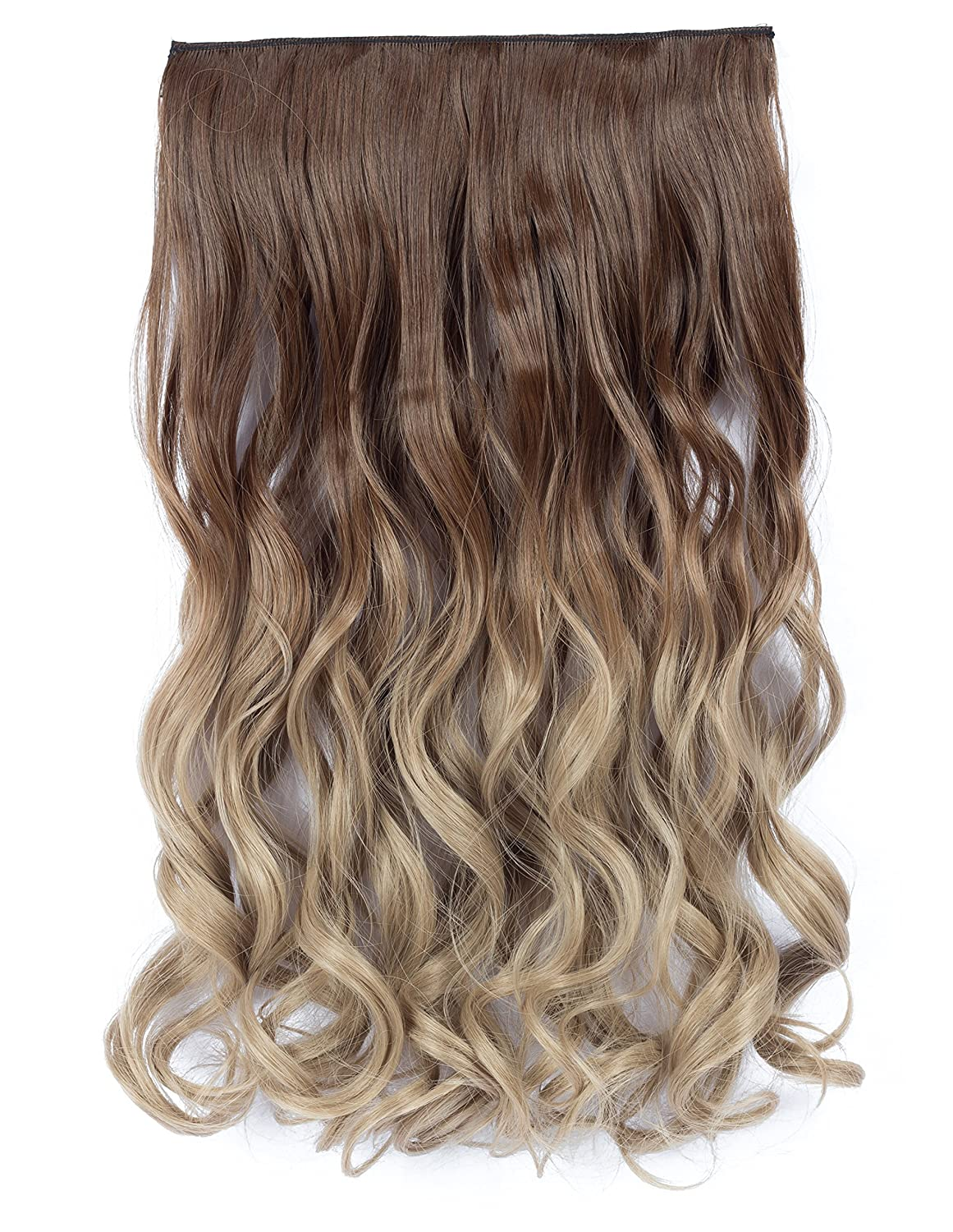Amazon.com   Beautyself One Piece Ombre Hair Extensions Thick 2 Tones Long  Wavy Clip in Curly Hair Pieces Women Golden Brown to Light Golden Blonde  ( 10T16) ... 13be863ffa