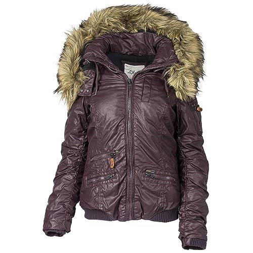 Khujo Mujer Chaqueta de invierno con capucha de piel sintética