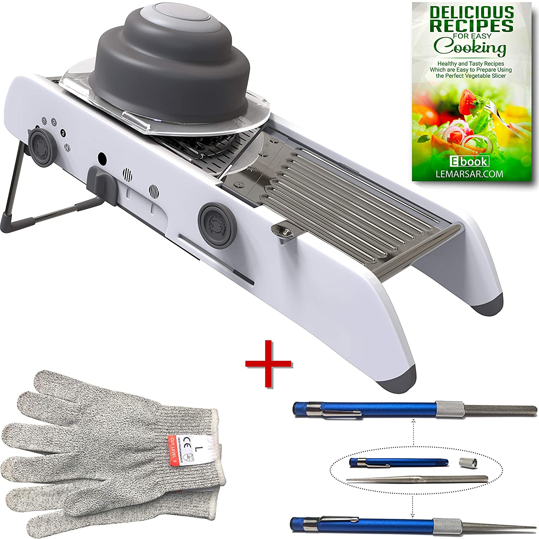Extra Sharp Mandoline Vegetable Slicer with Cut Resistant Gloves and Sharpening Stone Pen Bundle - 3 items