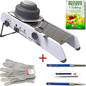 Extra Sharp Mandoline Vegetable Slicer with Cut Resistant Gloves and Sharpening Stone Pen Bundle - 3 items