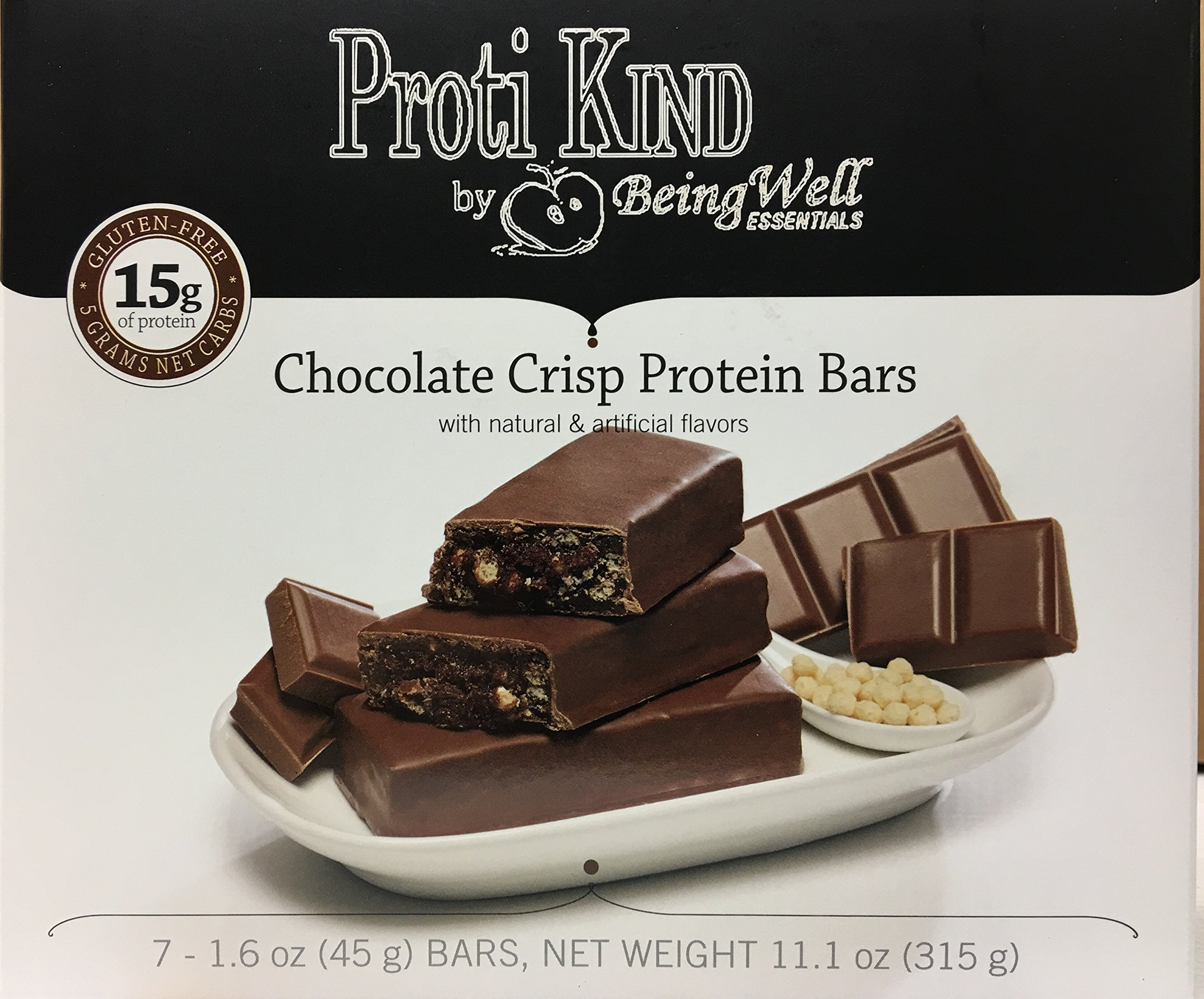 Proti Kind Bariatric Very Low Carb, Low Fat, Low Sugar - Bars Full Case of 84 Bars - 12 Boxes of 7 Each Bars - (Chocolate Crisp)