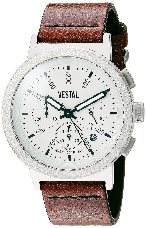 Vestal Retrofocus Chrono Stainless Steel Japanese-Quartz Watch with Leather Calfskin Strap, Brown, 0.85 Model SLRCL001
