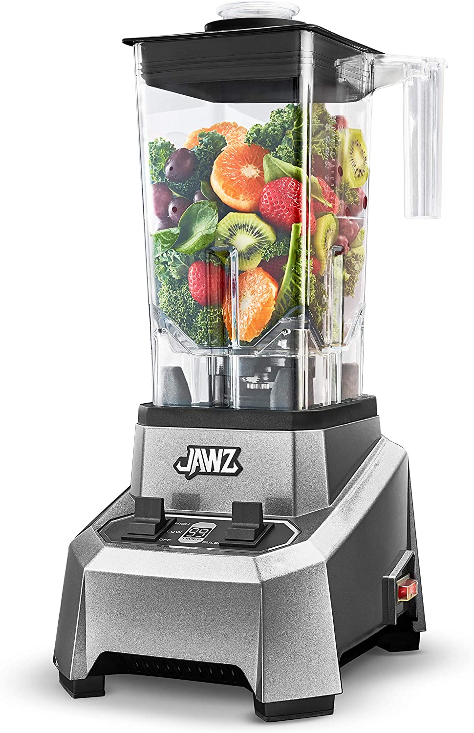 JAWZ High Performance – Toggle Switch 2-Speed – Professional Grade Countertop Blender Food Processor, 64 Oz, Silver