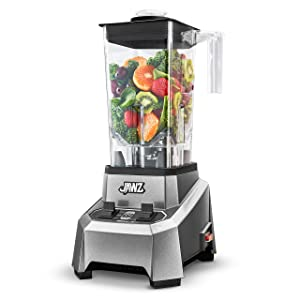 JAWZ High Performance - Toggle Switch 2-Speed - Professional Grade Countertop Blender/Food Processor, 64 Oz, Silver