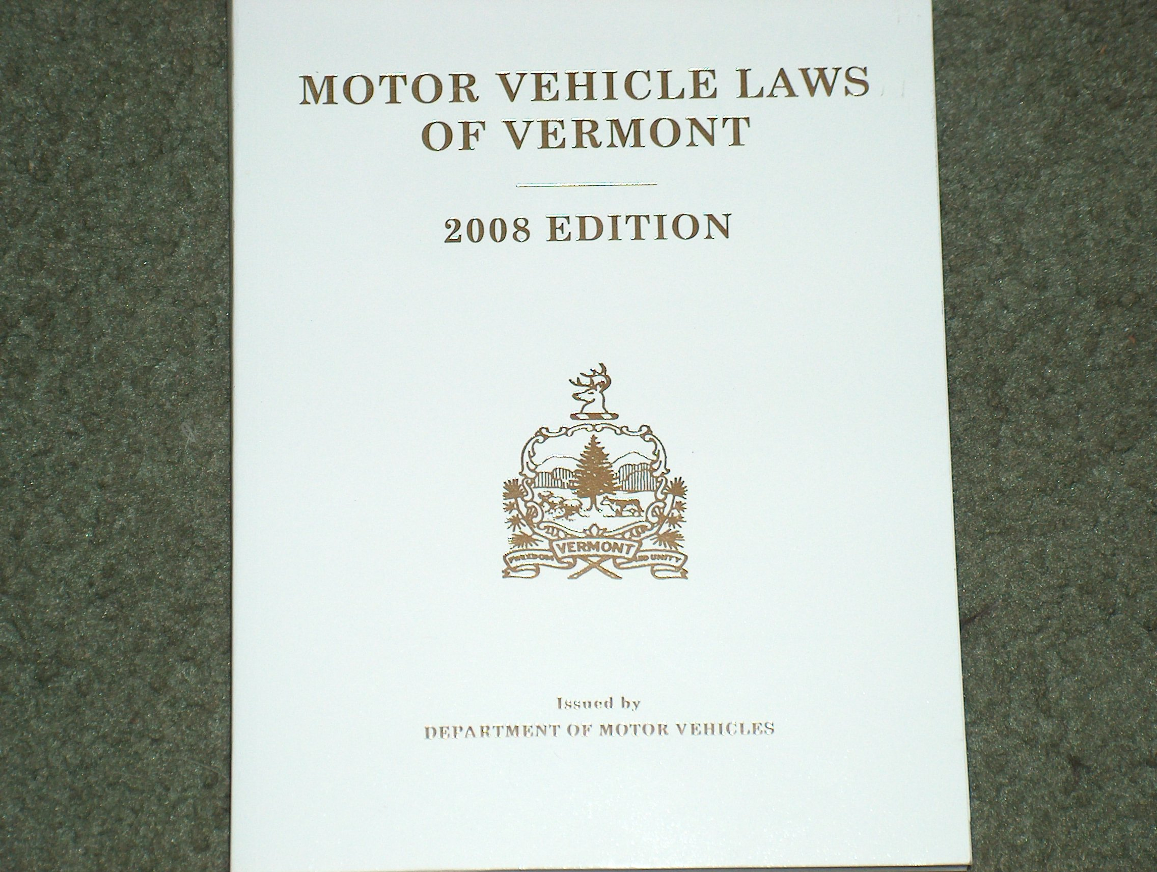 Motor Vehicle Laws Of Vermont 2008 Edition Department Of Motor